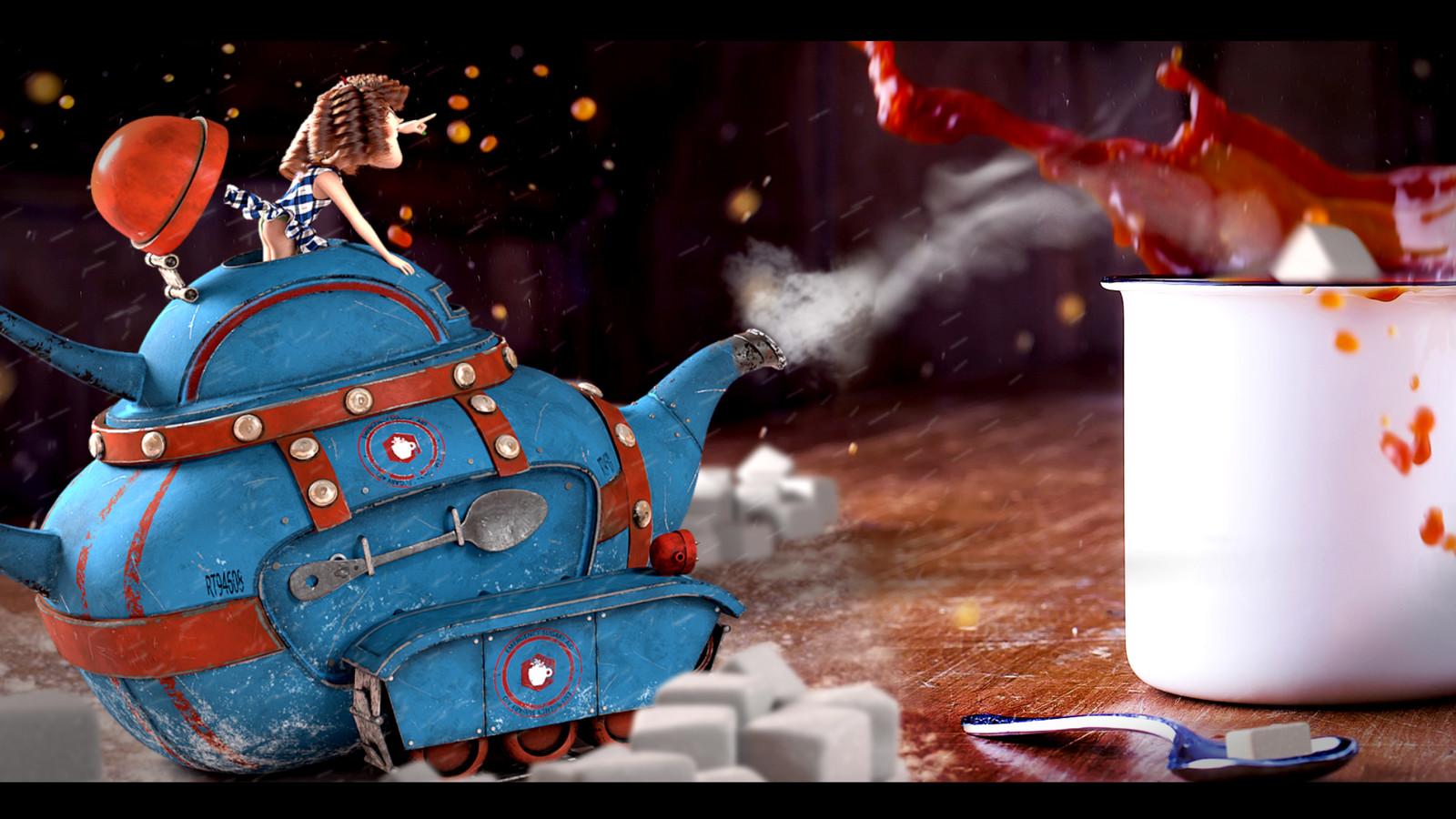 Pixar's Renderman Challenge Submission - Rolling Teapot