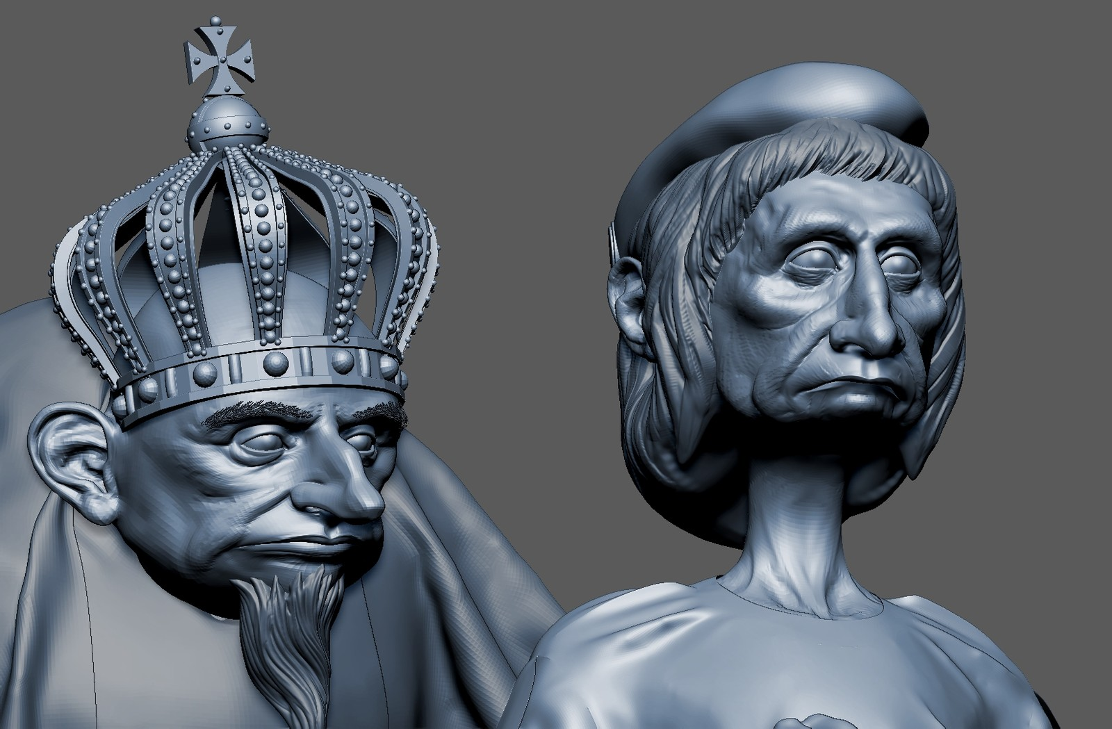 WIP of a 3 character scene king queen and servant
