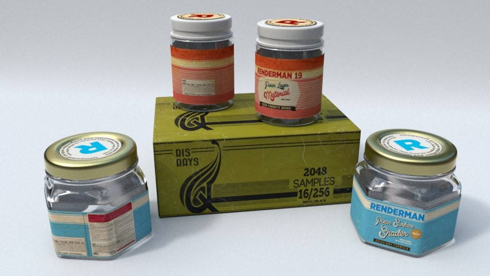 Concept -  RenderMan 21 and 19 (legacy) paint bottles. Box of ray samples.