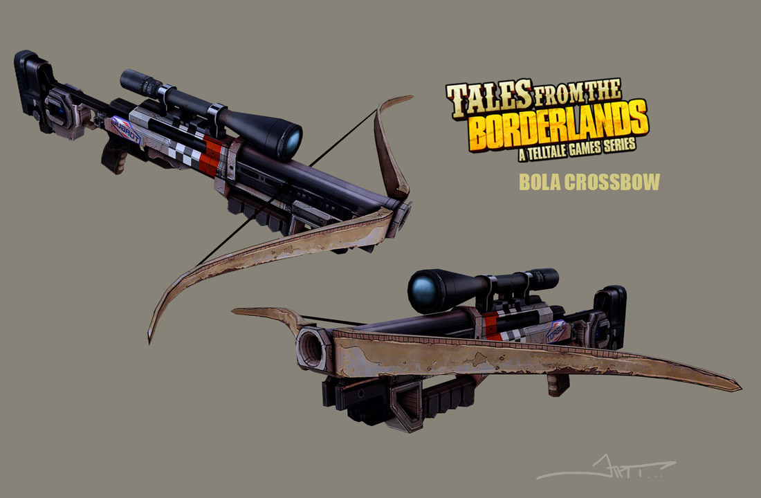 Bola Crossbow. A crossbow that shoots Bola. The scope is ridiculous.