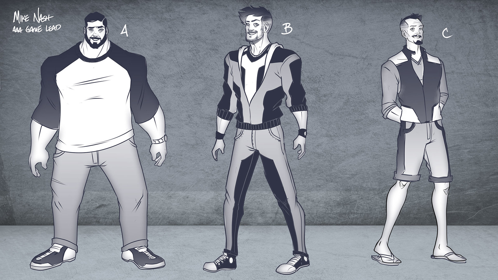Refined character designs based on selected silhouettes
