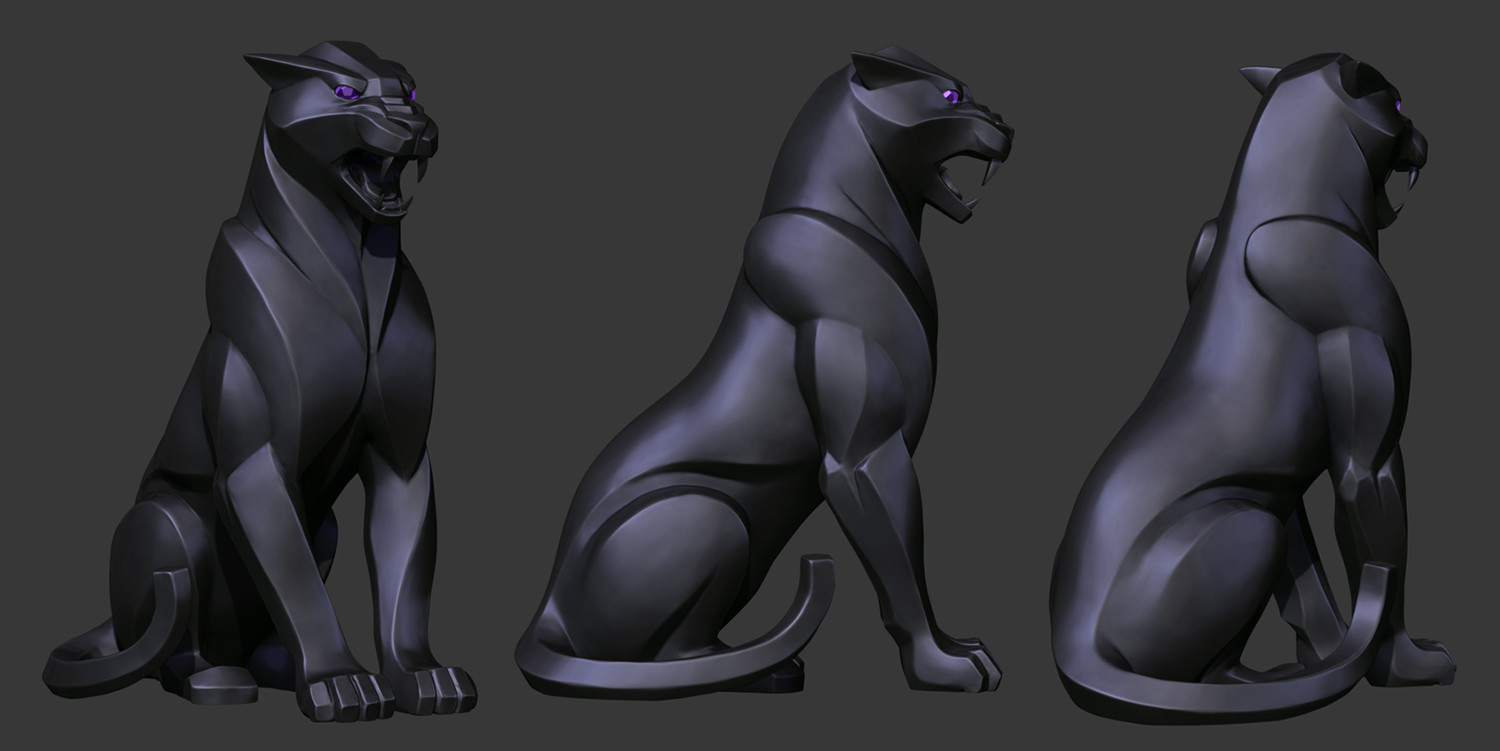 Kelsey martin panther statue wip2