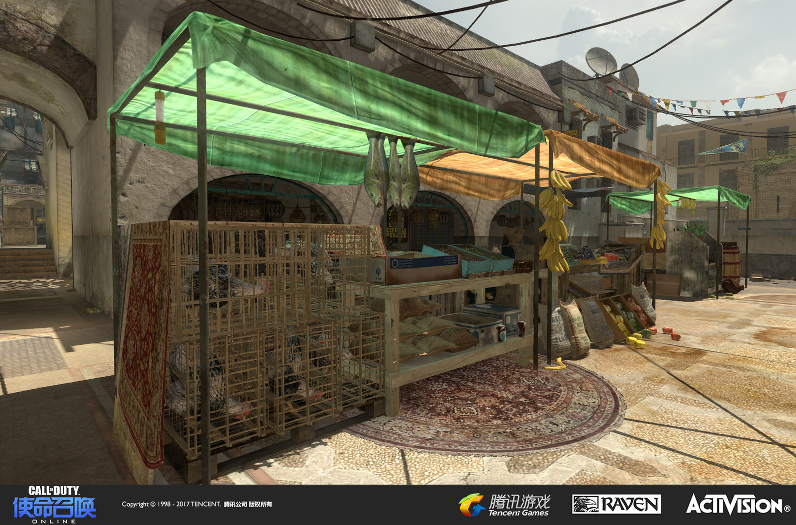 Seatown: A re-imagined multiplayer map originally appearing in Modern Warfare 3. I created the set dress and terrain here. One of our Shanghai artists created the cloth tops for the market stalls.