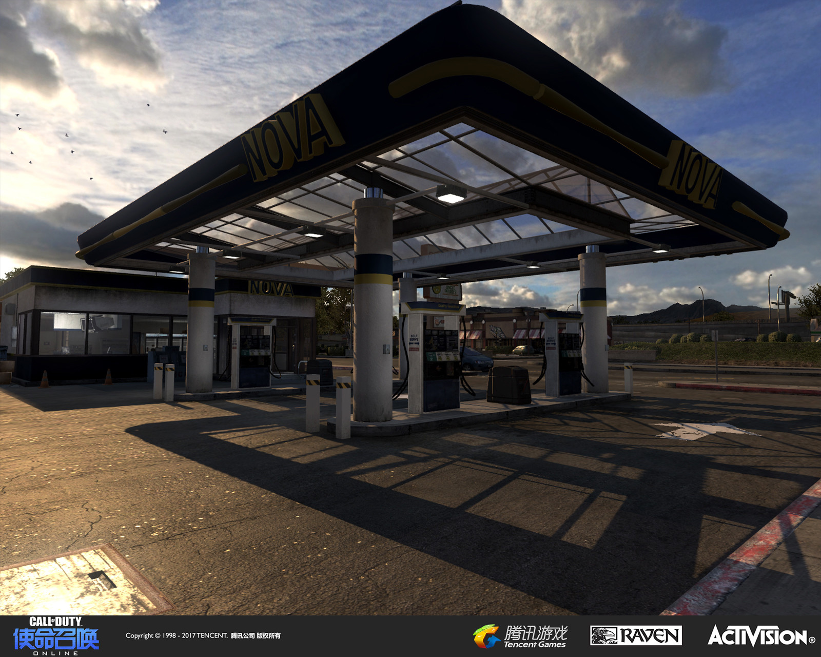 This gas station was rebuilt from a version originally appearing in Modern Warfare 3. I re-styled some of the design and added glass window tops which players to easily shoot through it in the Chopper Gunship game mode.