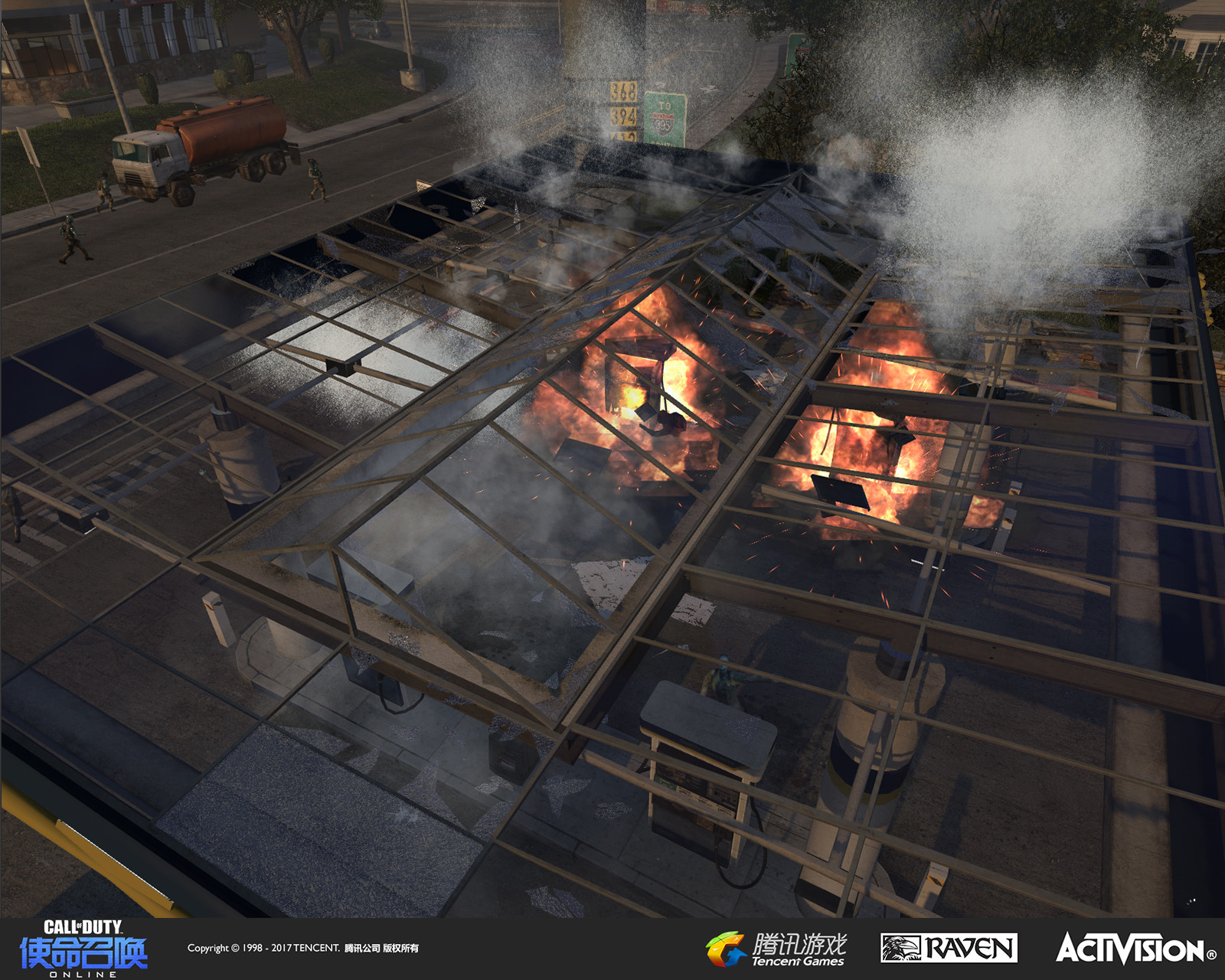 Gas station being destroyed from the player's vantage point in Chopper Gunship mode. I modified the old geo, rethemed it, and the effects were created by our designer and the effects team.