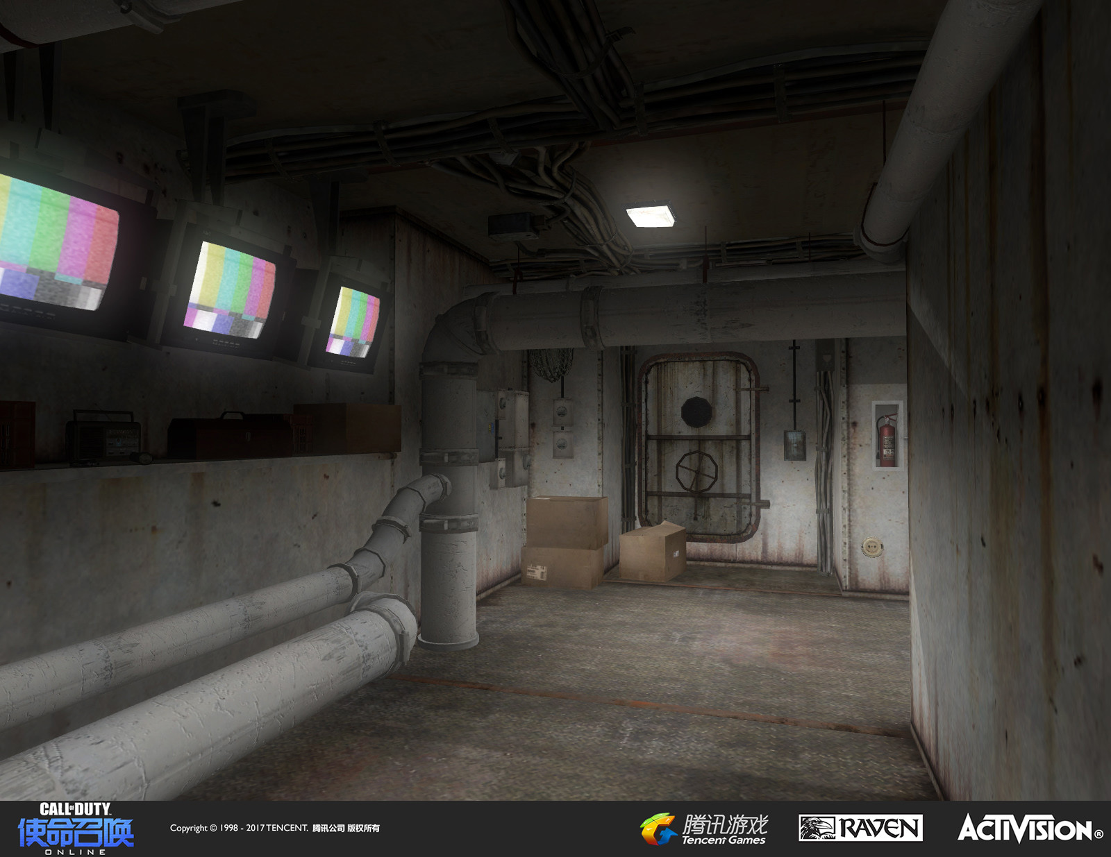 Newly placed interior corridor. Worked on geo and added new cable models and destructible TVs as well as other set dress.