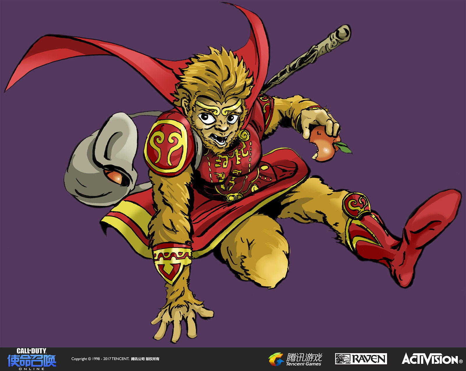 I created this illustration to appear in the remake of Modern Warfare 2's DLC Carnival map. The theme for this year was the Monkey King. I drew the Monkey King in pen and ink and colored with vector in Adobe Illustrator.