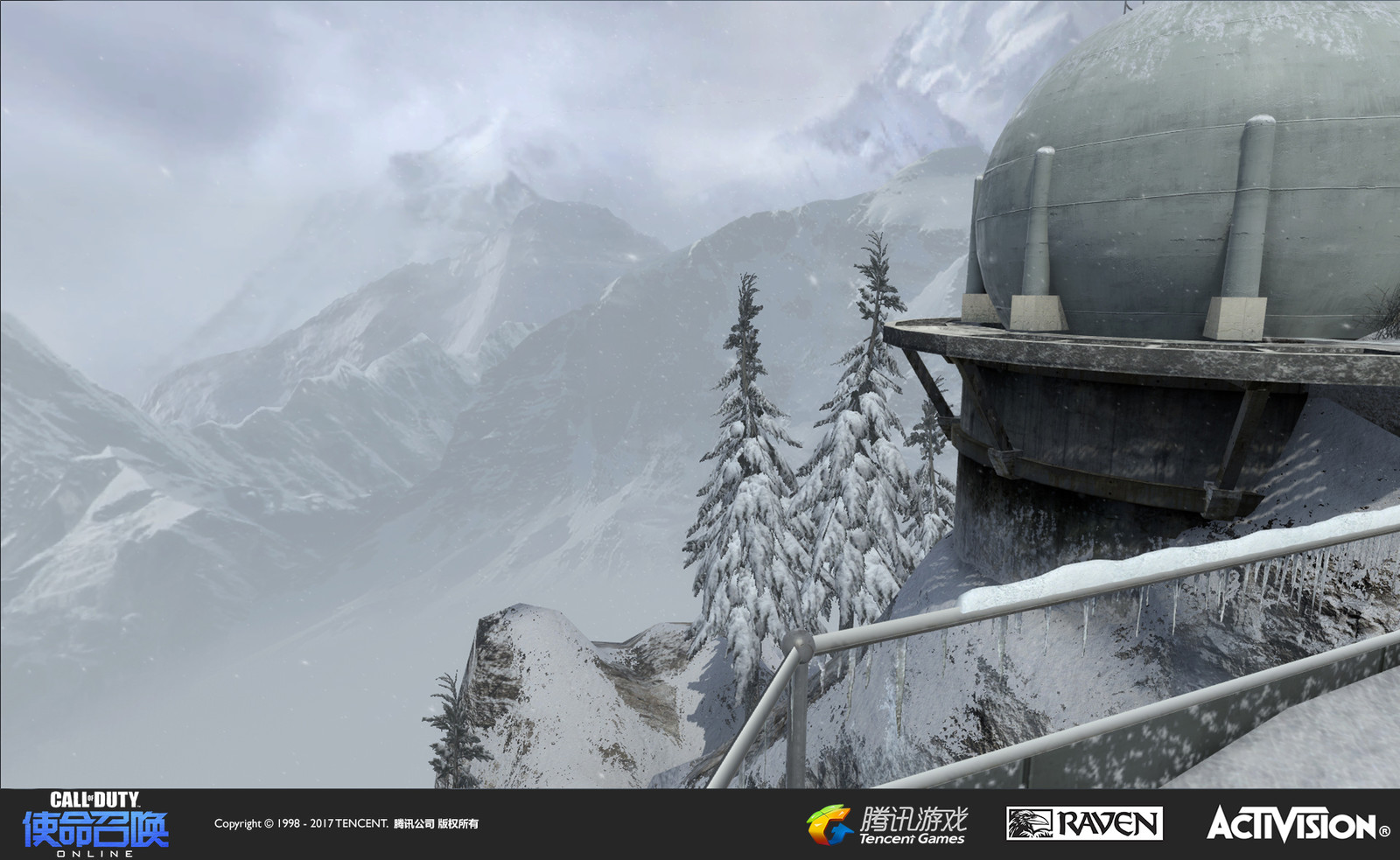 Summit: I recreated the vista of this map from its original version in Black Ops. I made the snow patterns and textures on the near-vista terrain, geo for the fuel pod, and set up the mountains and atmosphere. Jeff Degenhardt created the mountains.