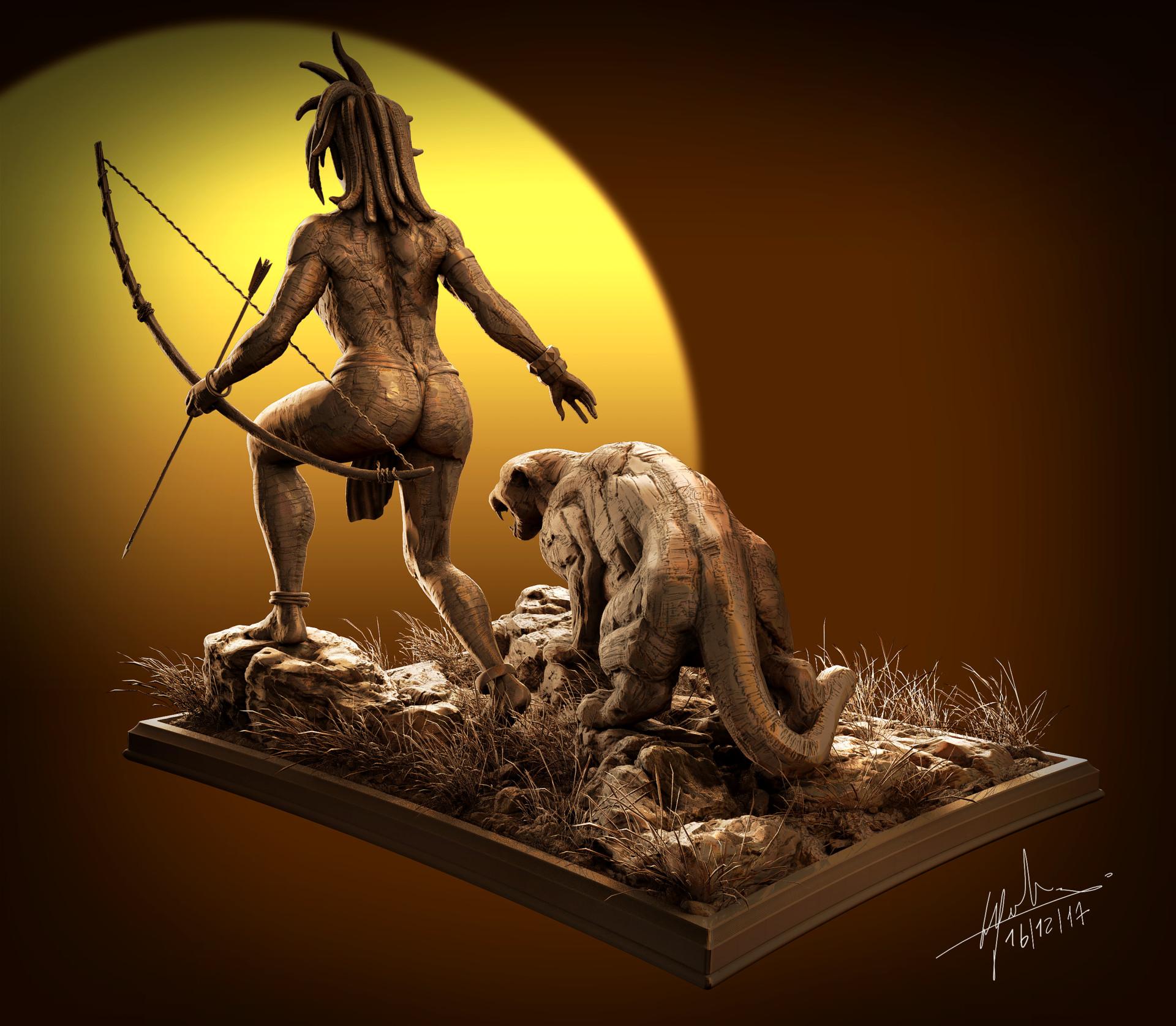 Fabien cazenabe black panter sculpt anatomy art cazenabe fabien 04