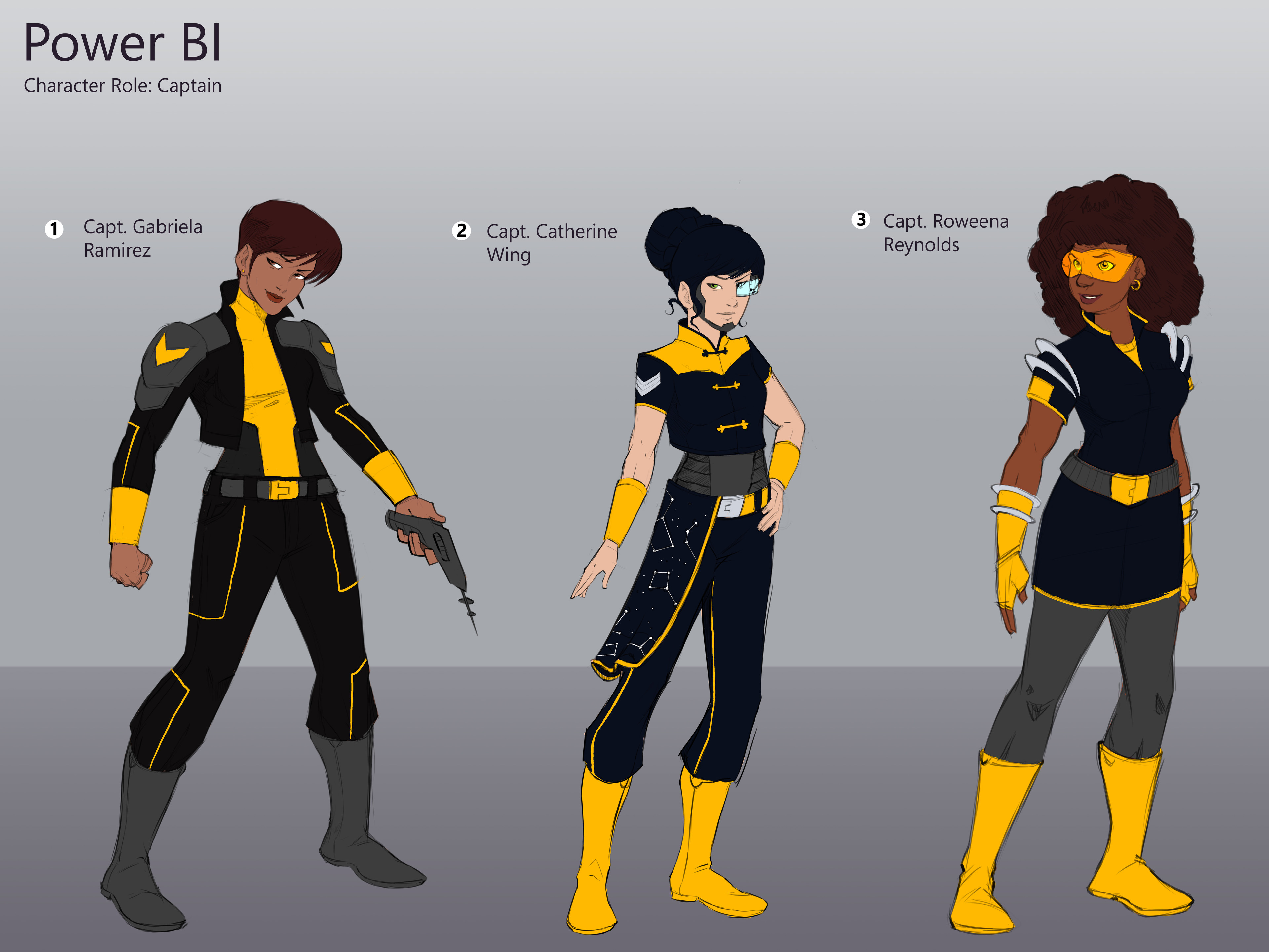 Refined character designs and color flats based on the Power BI branding guide