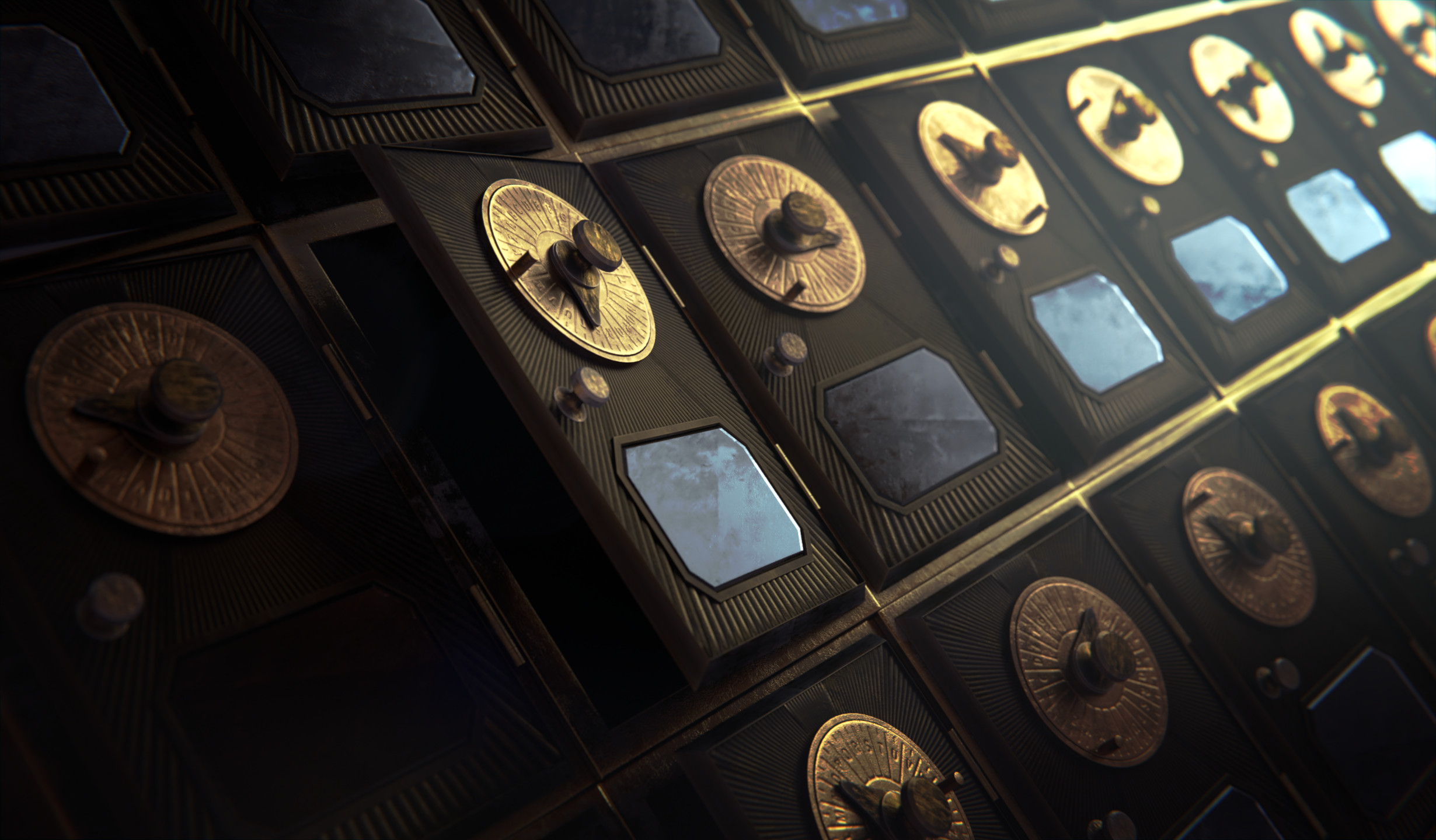 Wall of Mailboxes Covering modelling rendering and compositing