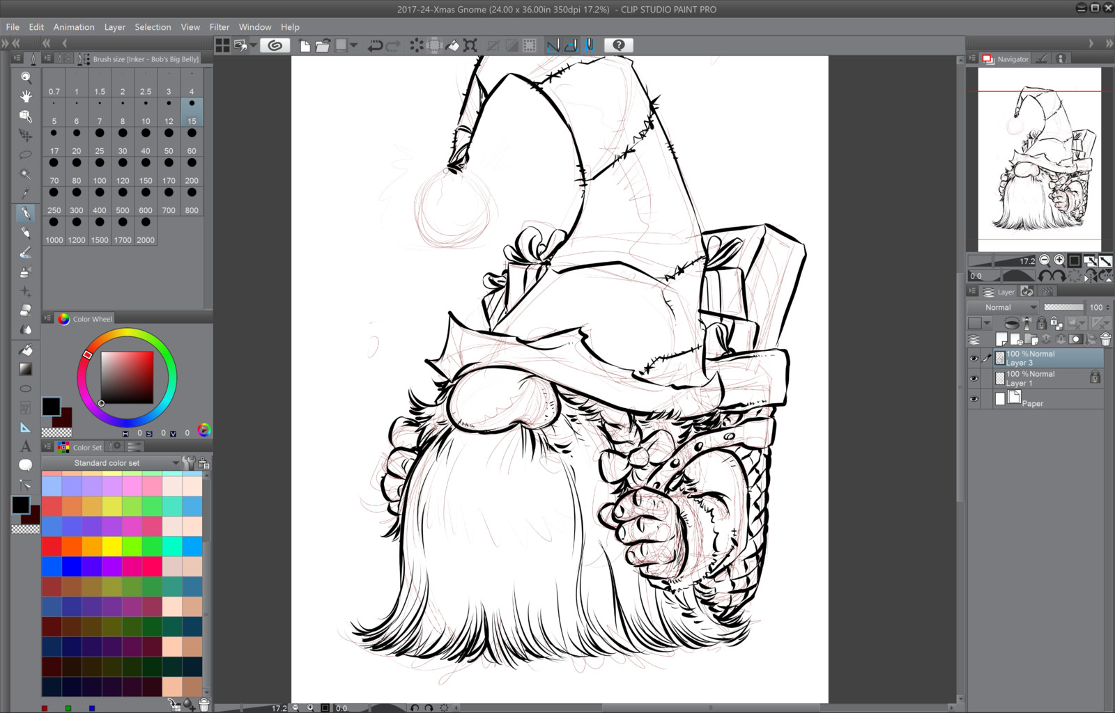02- Inking over the rough line works