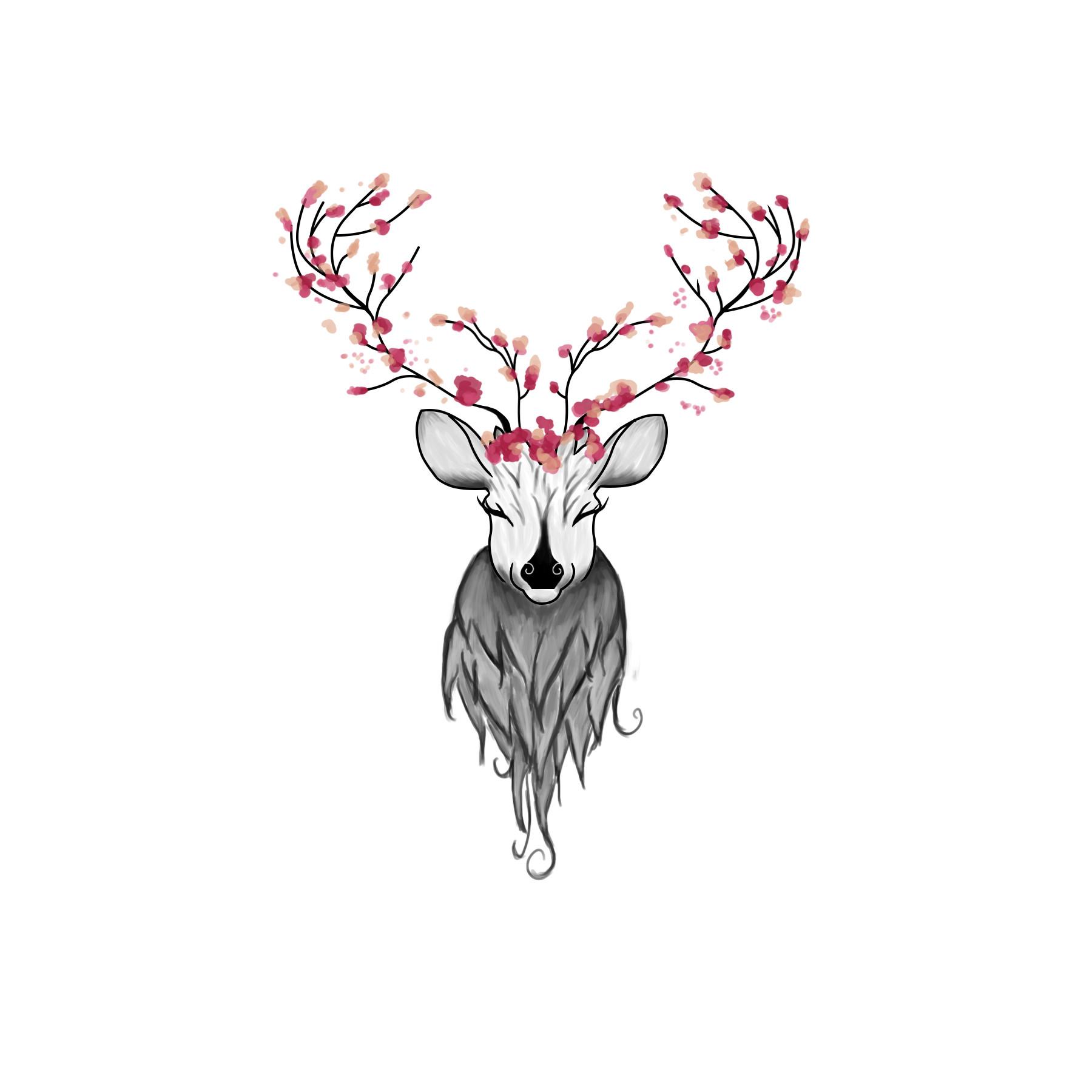 Artstation Fairy Deer Tattoo Practice Trippy Sun
