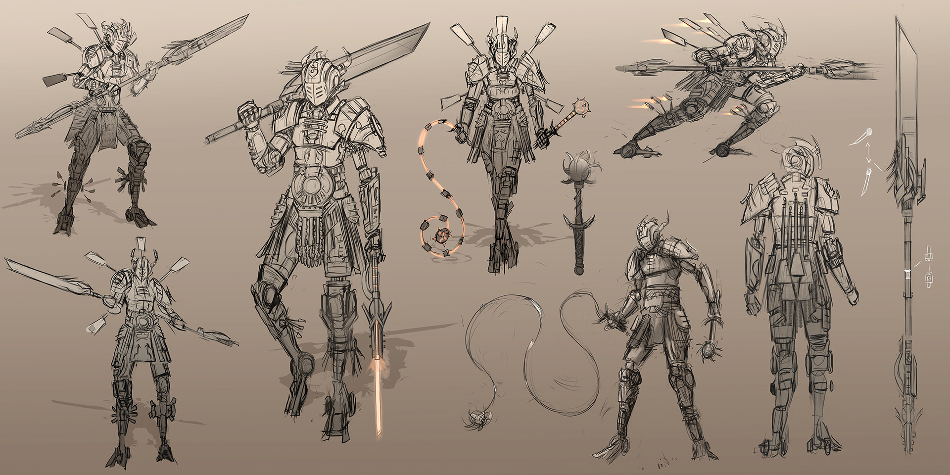 Drelis myriddian knight sketches 1ab