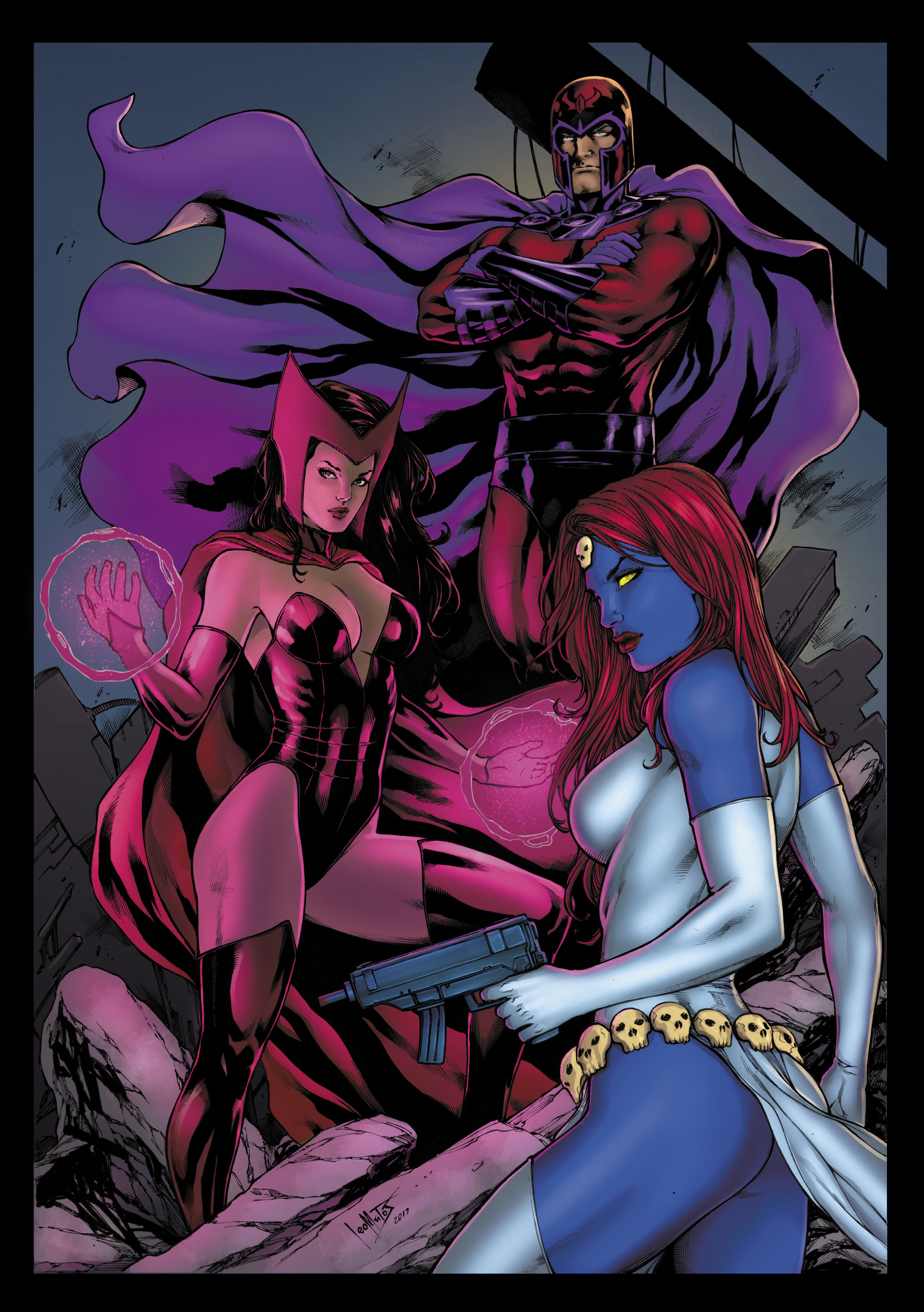 Matt james magneto scarlet witch and mystique by leomatos2014 colours