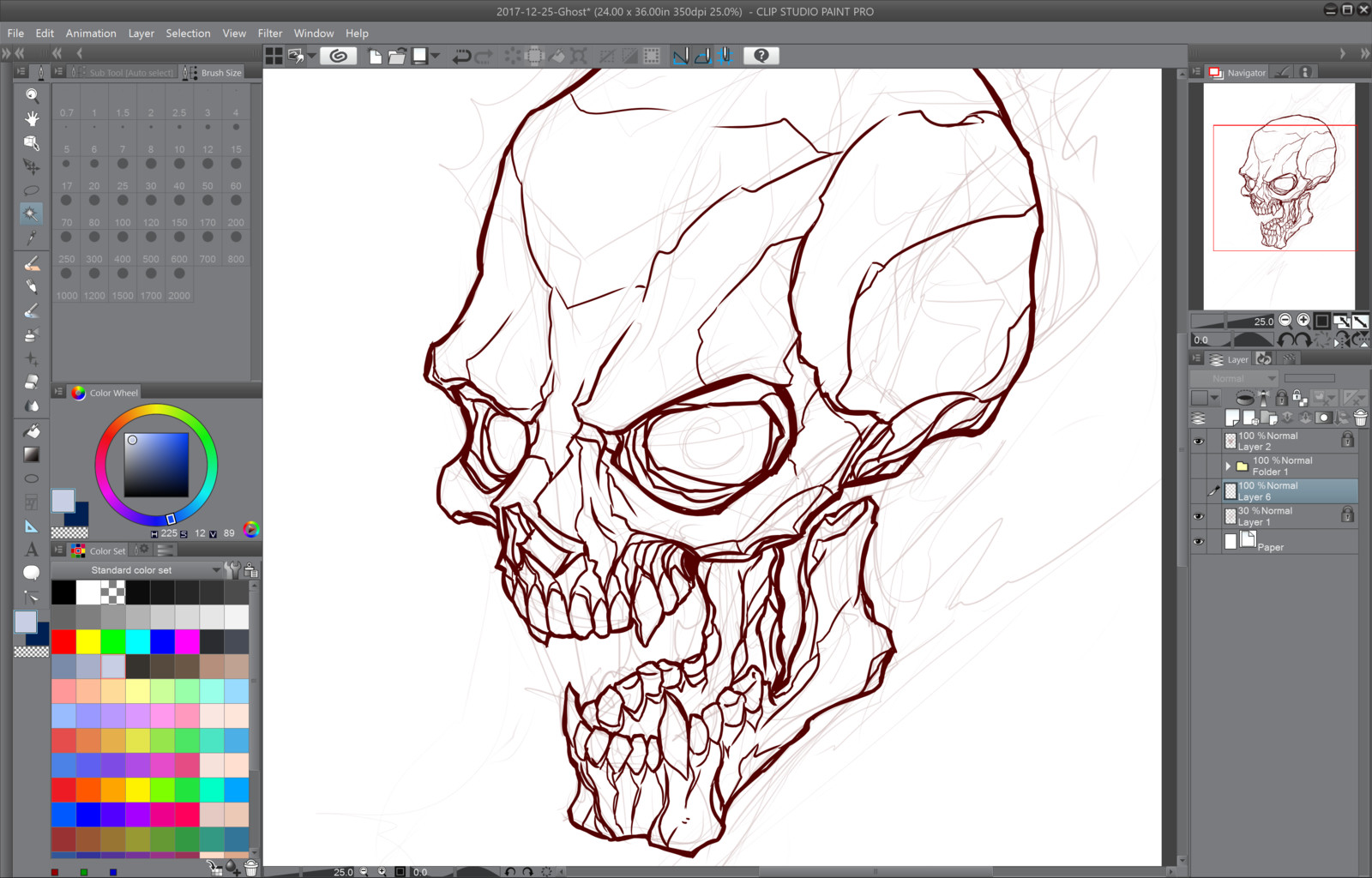 02- Inking over the rough sketch
