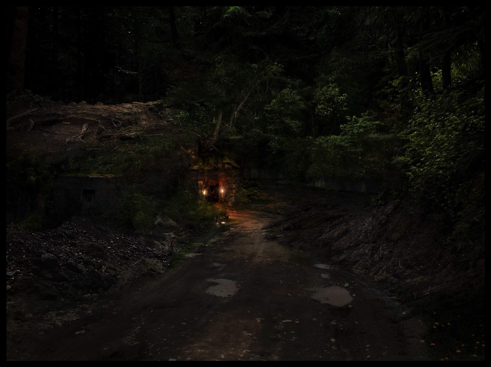 Entrance to the Dark Forest (night version)