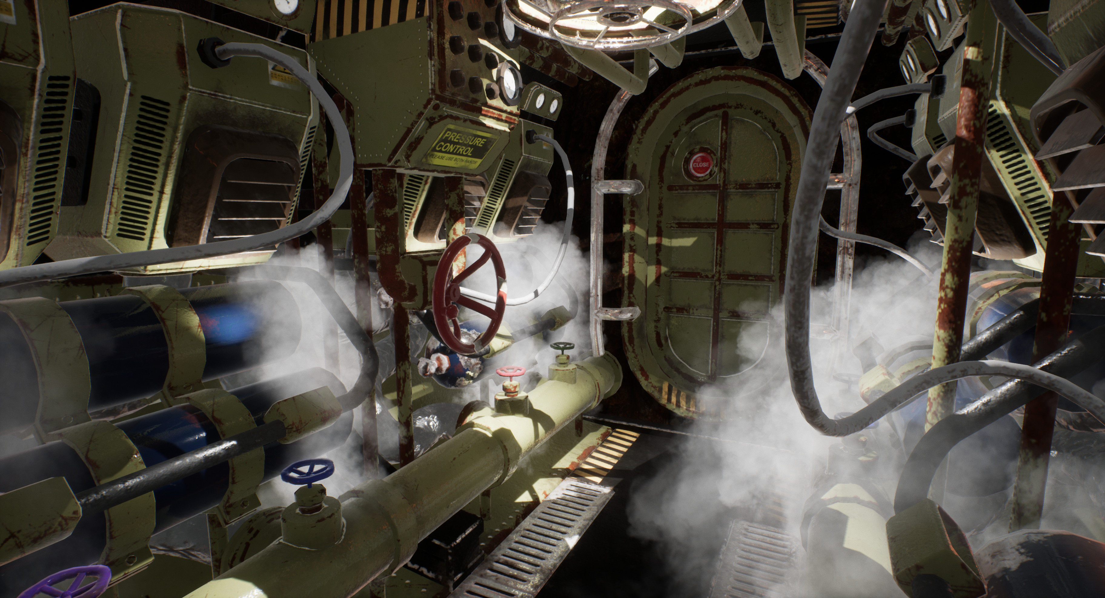 Heavily inspired by WW2 submarines, the airlock represent a blast from the past. As Accomm 5 was constructed around a former mining outpost, a few (mostly functional) elements remained and formed a harsh contrast against the cozier parts of the station.