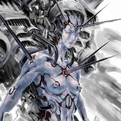 Atom cyber color sketch saintetic low def