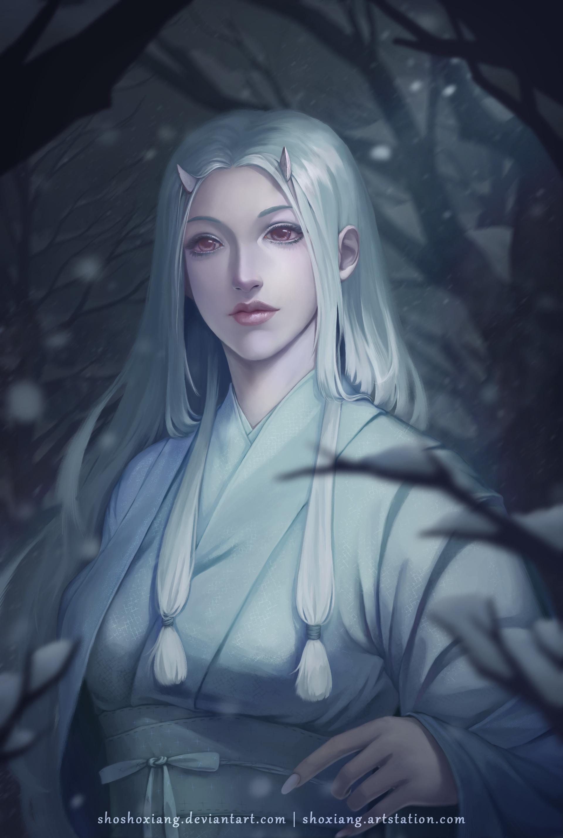 Artstation Yuki Onna Snow Woman Sho Xiang