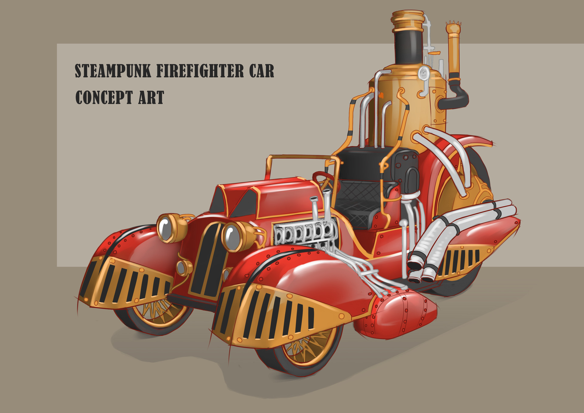 Artstation Steampunk Firefighter Car Marija Pushenko