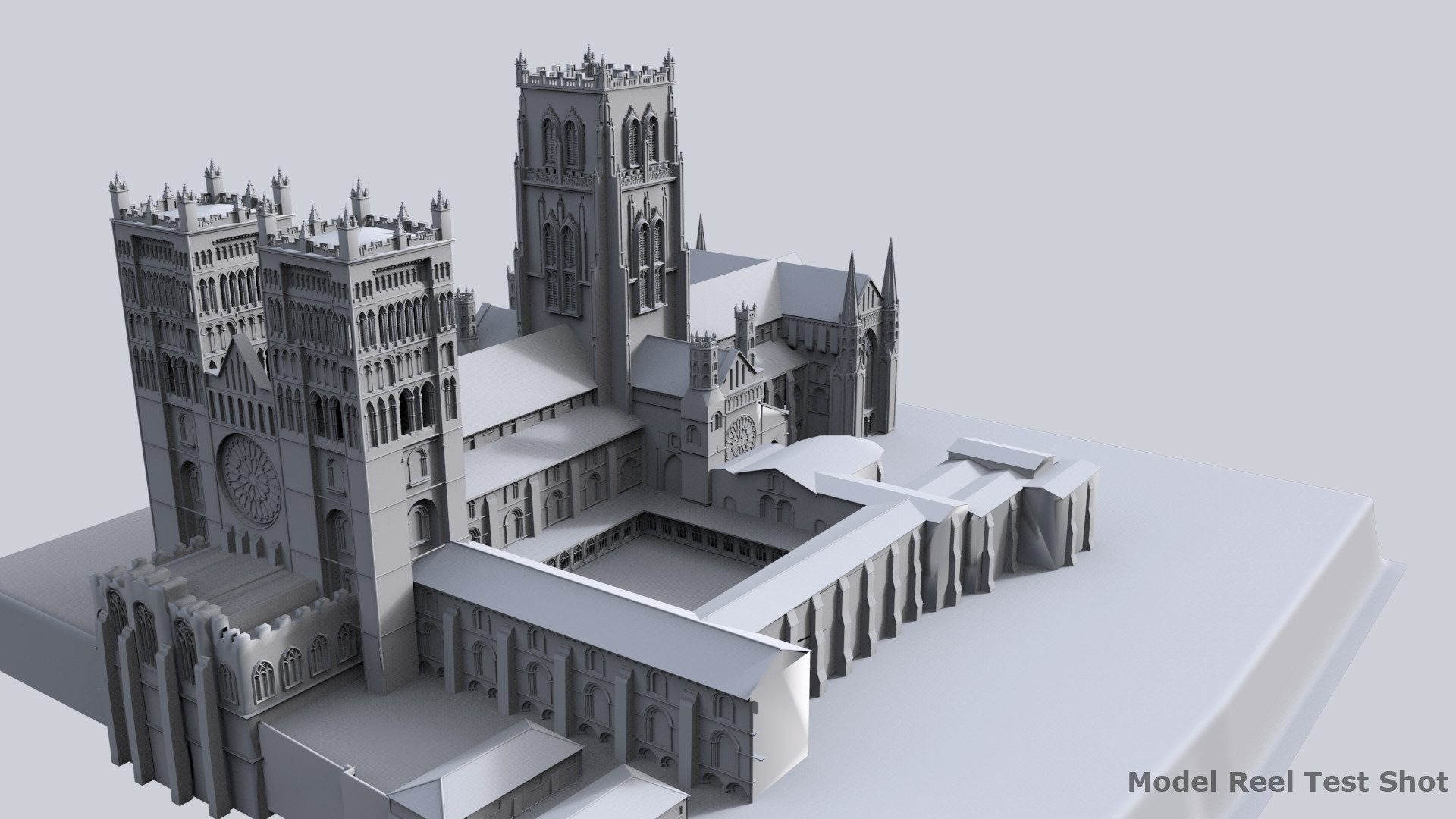 Durham Cathedral Exterior (untextured)., Done as part of an FXPHD class I taught