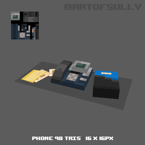 3D Pixel-Art Desk Phone (Commission)