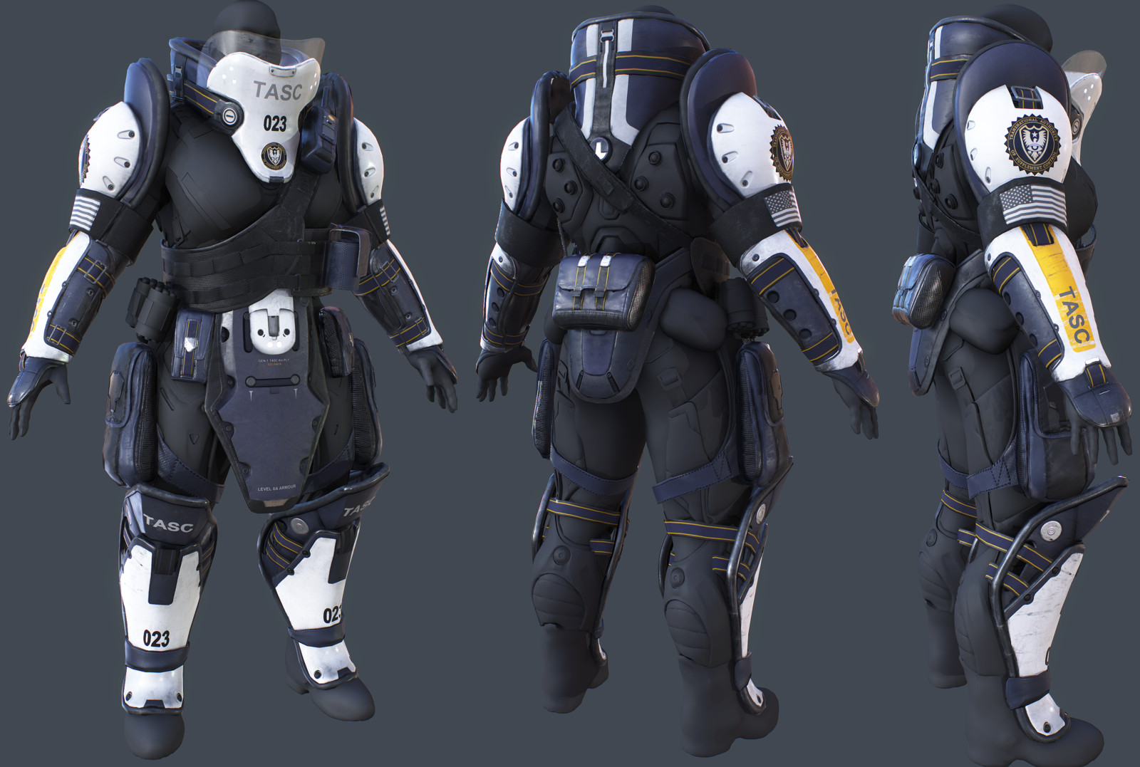 """TASC Brute additional armour for """"Lawbreakers"""". Worked under Chris Wells and Tramell Ray Isaac."""