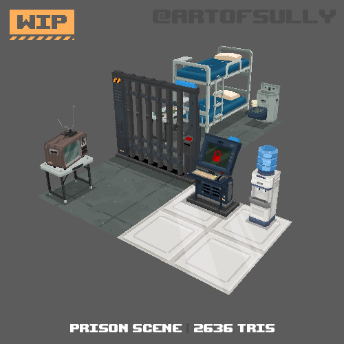 3D Pixel-Art Prison Scene WIP (Commission)
