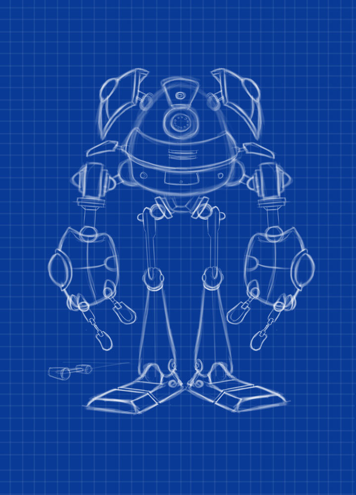 Robot design, front view