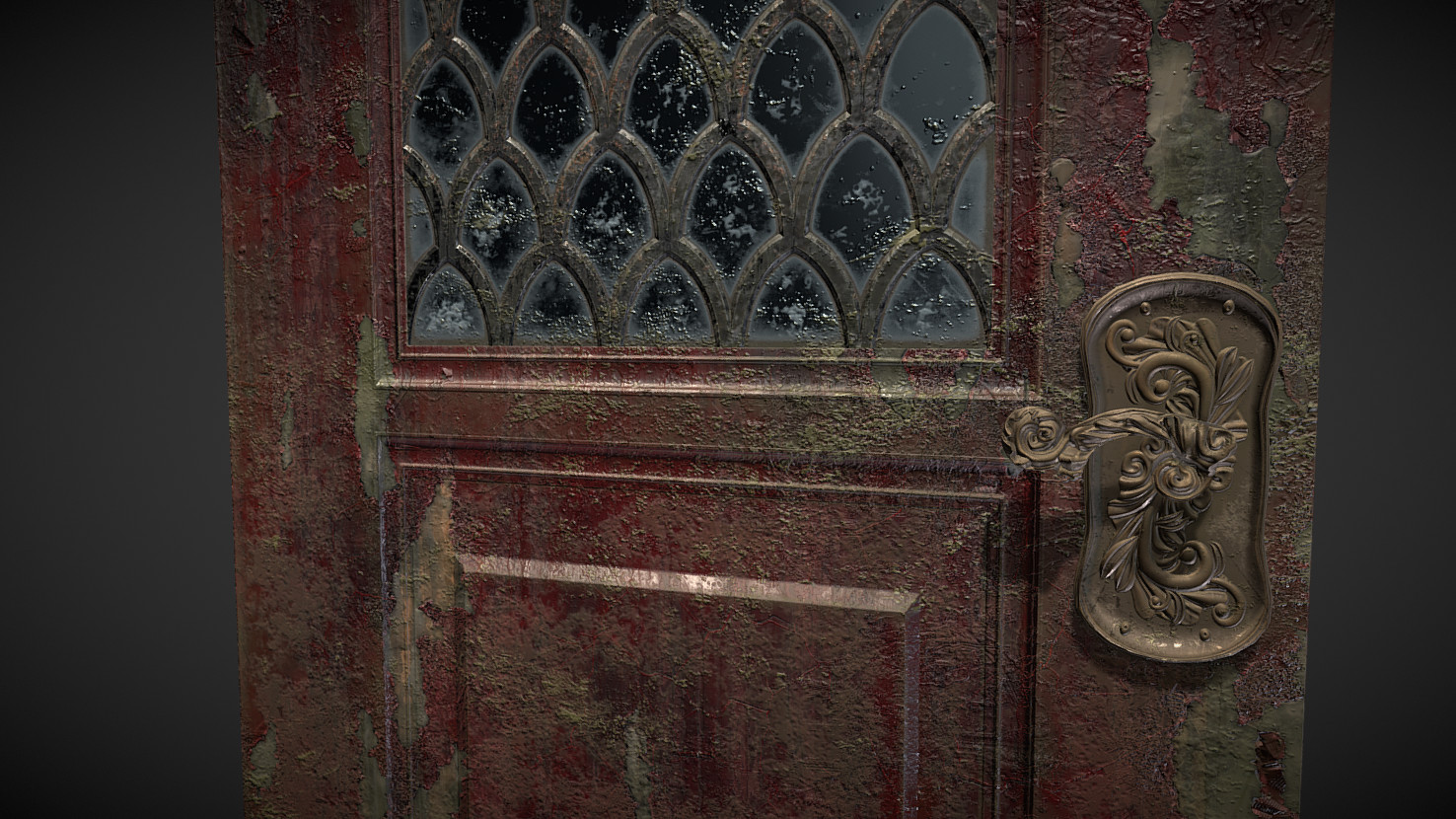 Weathered low poly door and knob