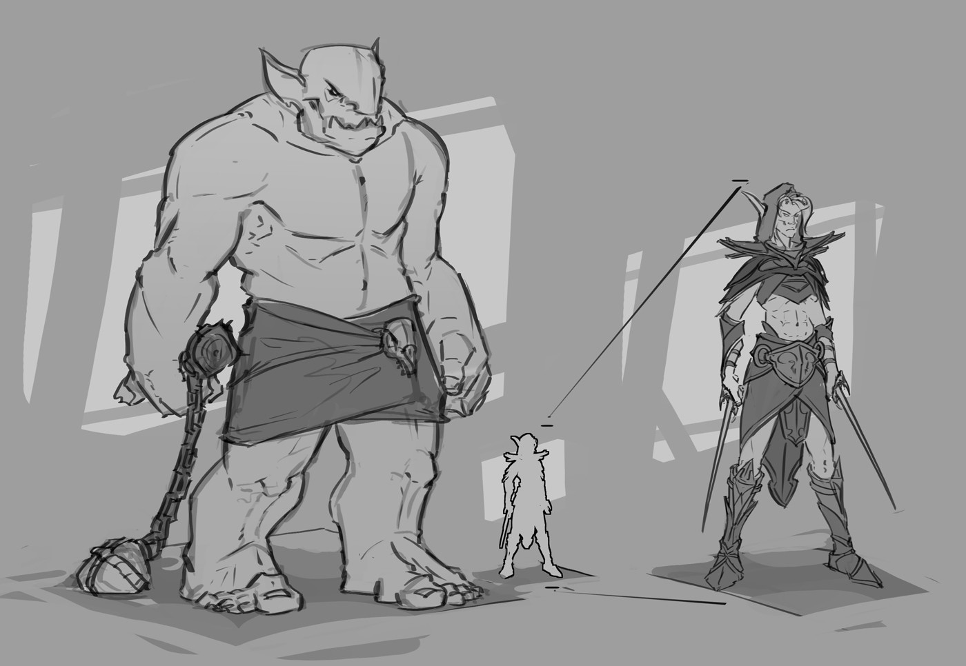 Some fast sketched designs to keep the track while doing the illustration