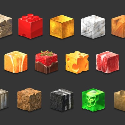 Hand Painted Material Cubes