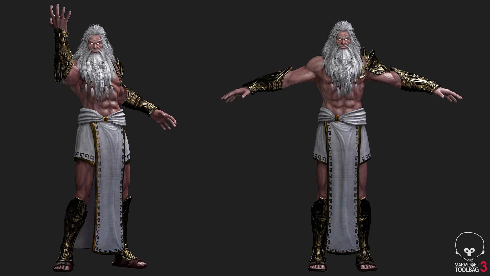Claudio Corregedor God Of War 3 Zeus Version 2 Low Ploy Fan Art