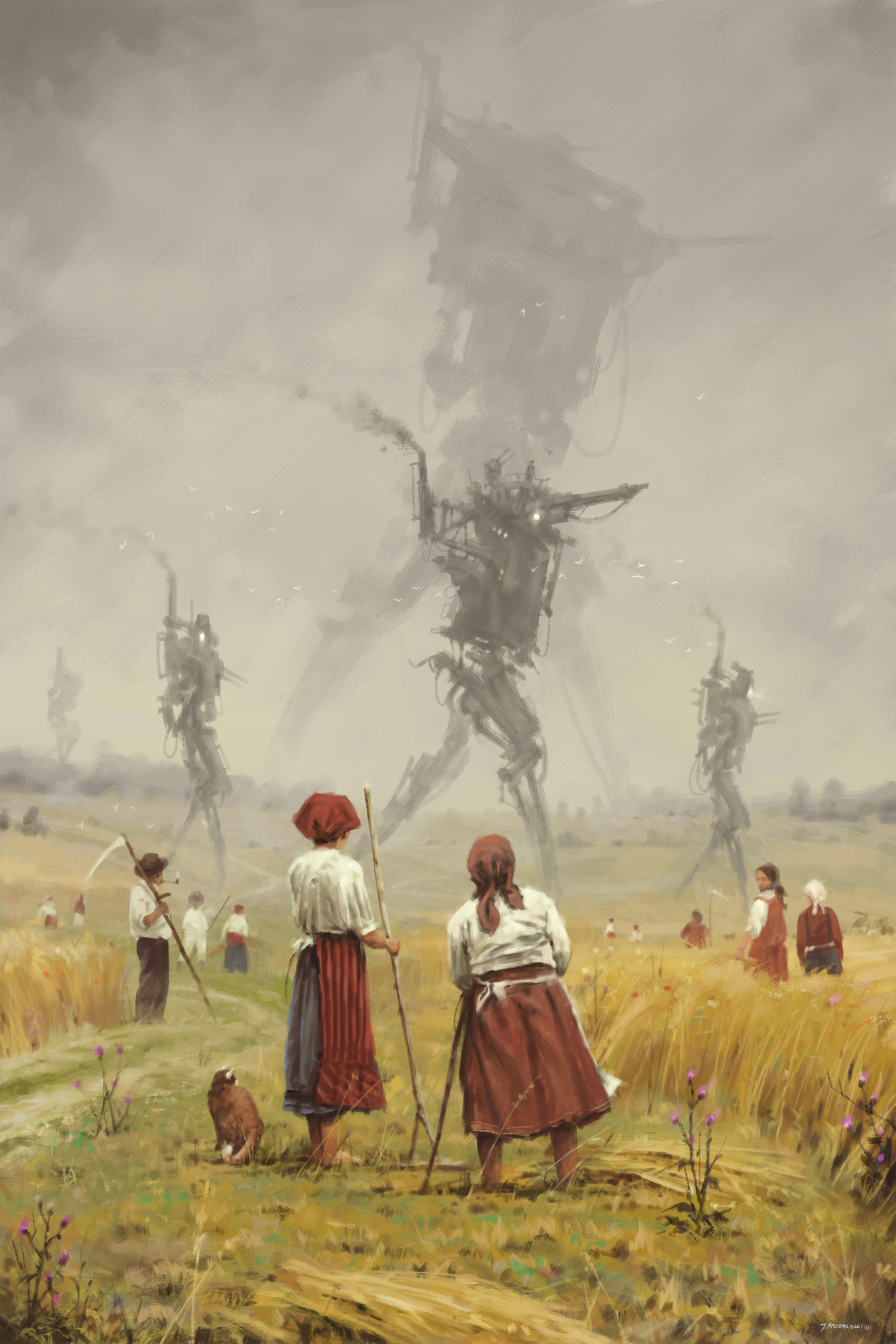 Jakub rozalski 1920 the march of the iron scarecrows