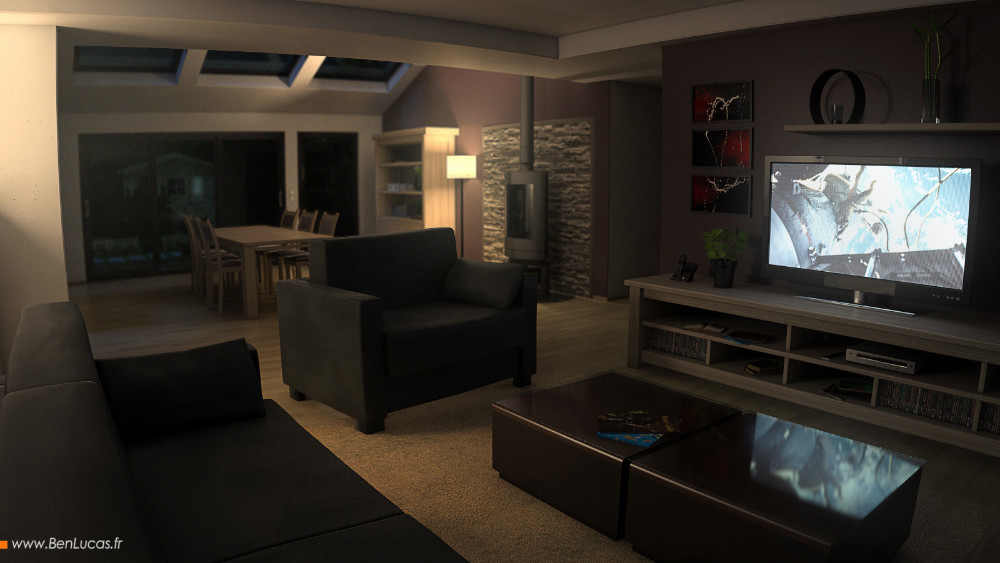 Marketing render of the living room by night