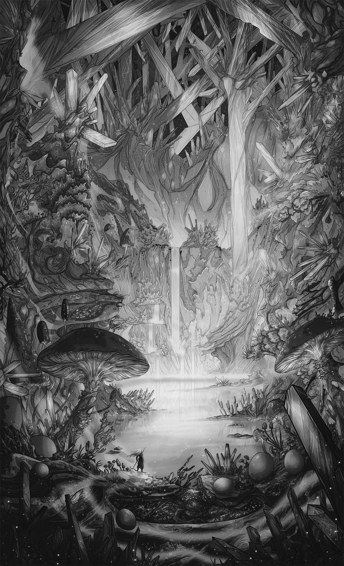 Christian benavides the cavern illustration sungmanitu final art greysacale