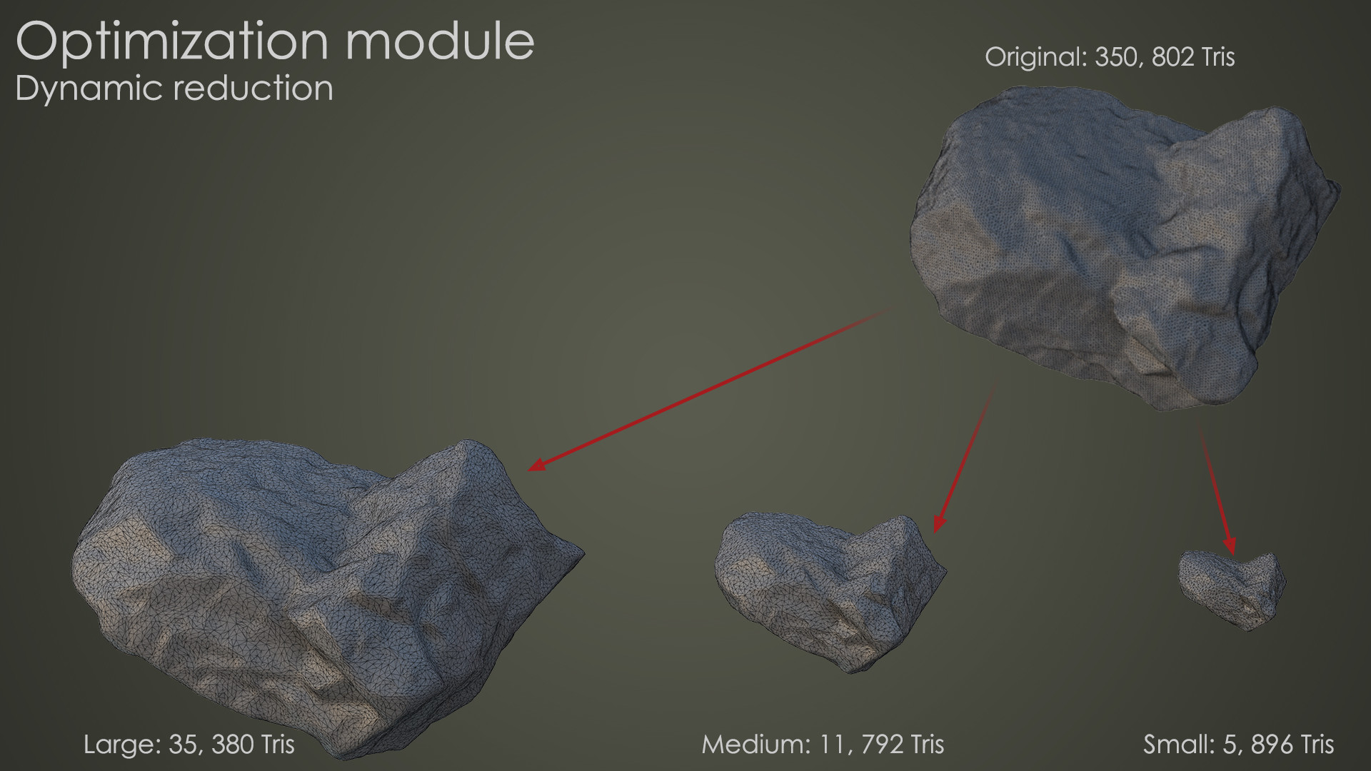 Using dynamic reduction to optimize objects according to scale