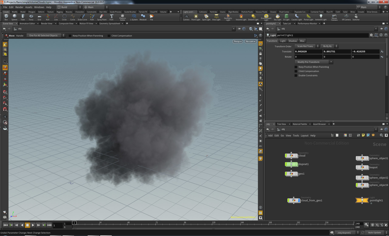 simple clouds from geo in Houdini