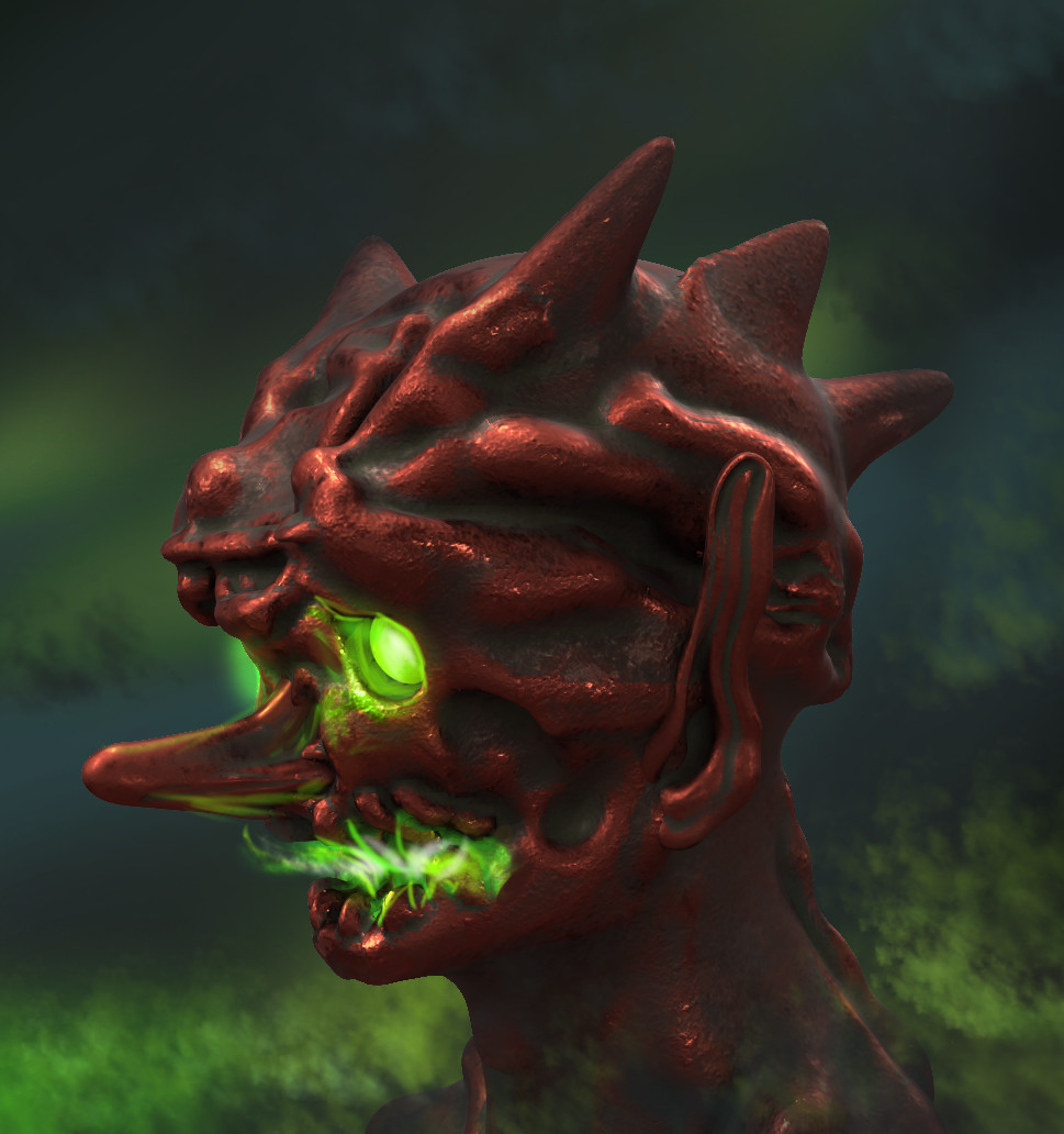 Original art painted over from the 3D sculpt in photoshop