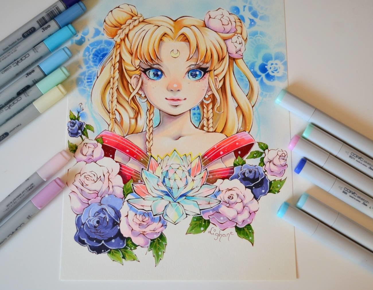 ArtStation - Floral Sailor Moon / Coloring Book / Copic ...