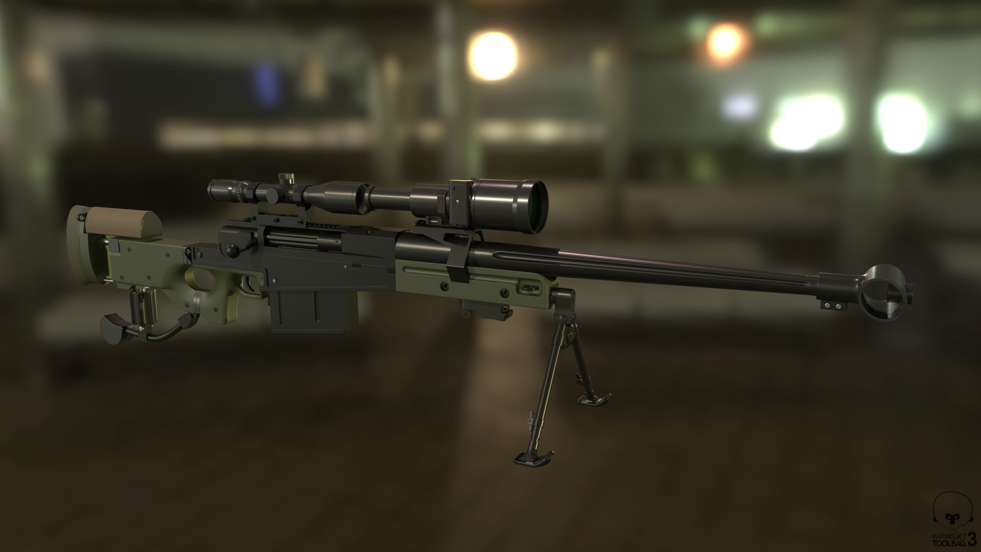 AM 50 / L121A1 with Schmidt & Bender 3-12x50 PM II Scope, front mount with Hensoldt NV80 night vision scope.  High Poly - Left Side. Adjusted Marmoset's render settings a little and added a few light sources and a blurred background.