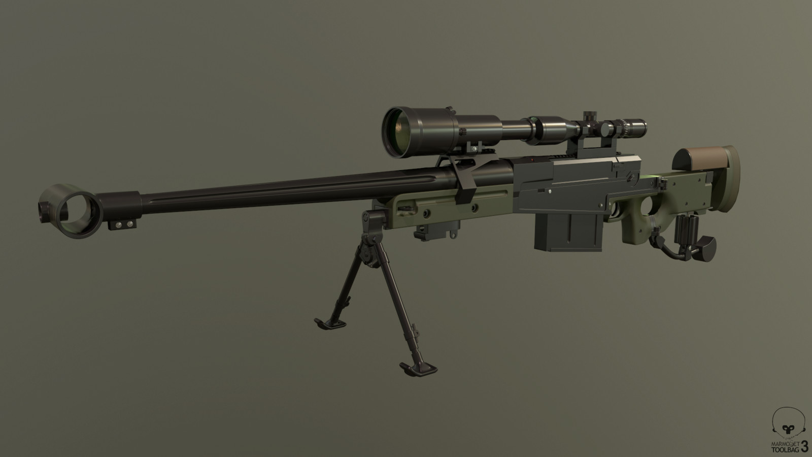 AM 50 / L121A1 with Schmidt & Bender 3-12x50 PM II Scope, front mount with Hensoldt NV80 night vision scope.  High Poly - Right Side.