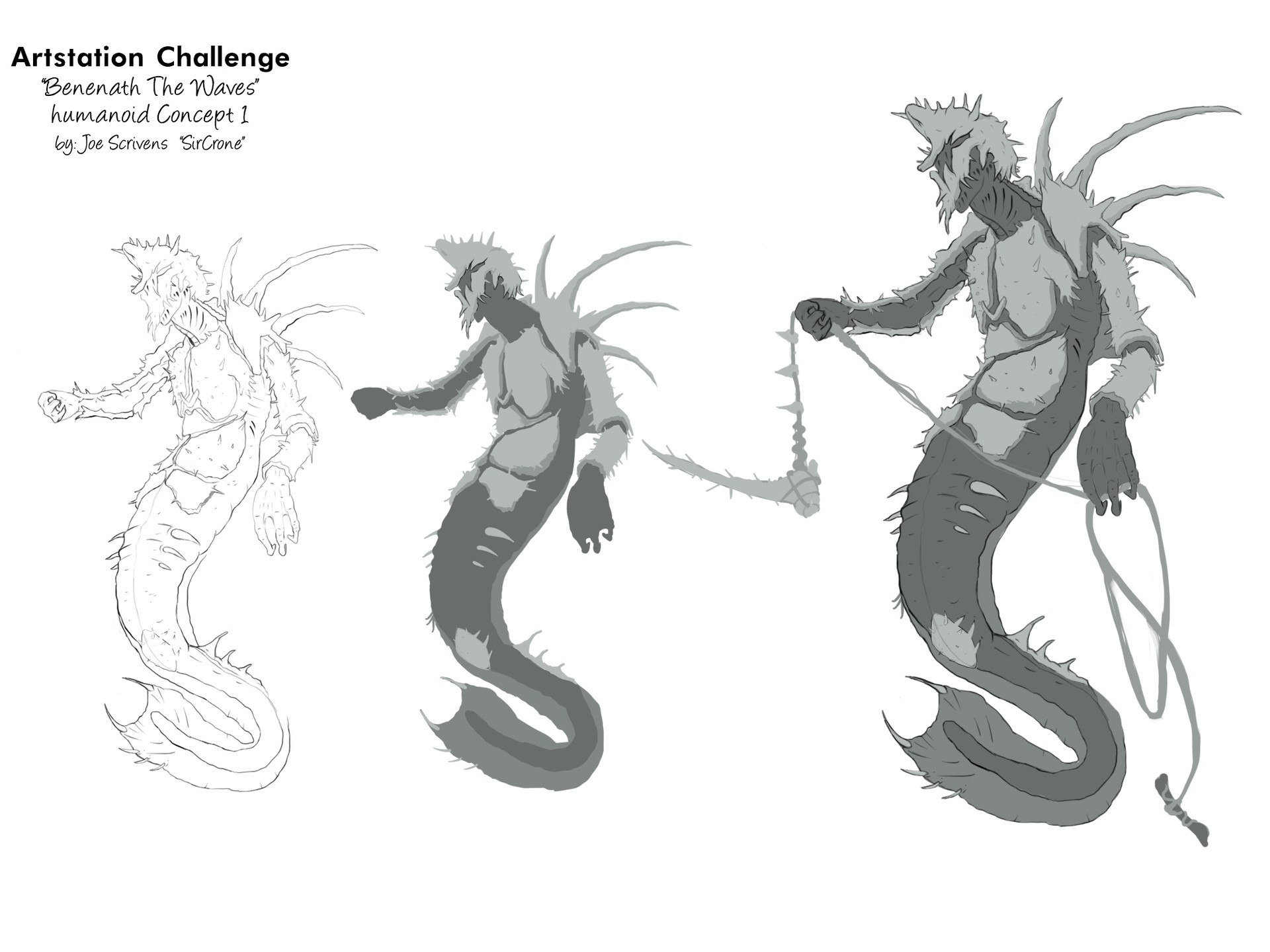 The Line Art Challenge : Joe scrivens beneath the waves art challenge submission