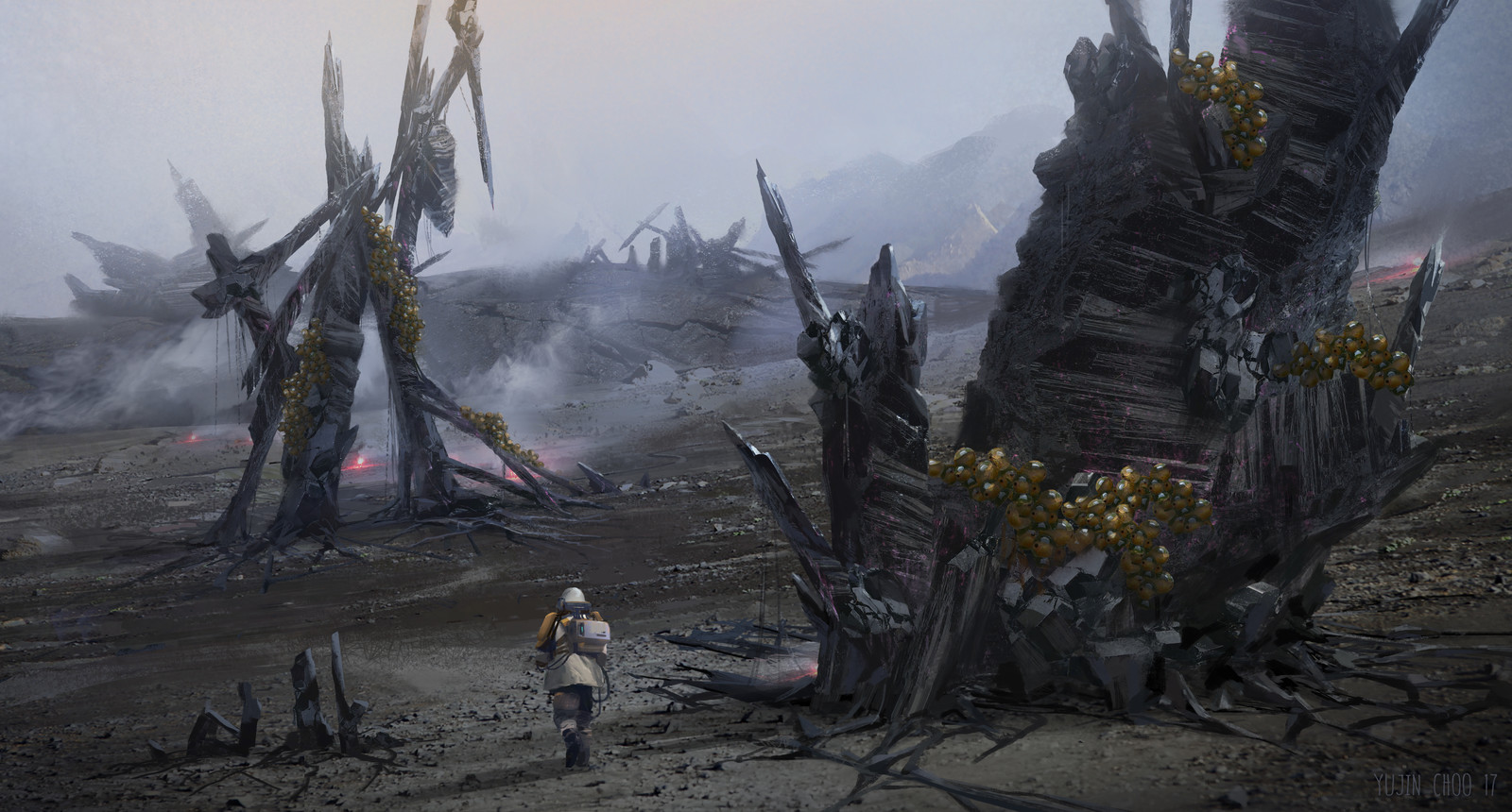 Earth is now corrupted by alien life forms, These structures are the shelter for the alien's eggs, using human bodies as soil. (I know it is disturbing!) The scene is about a scientist going toward the alien structures to study their system.