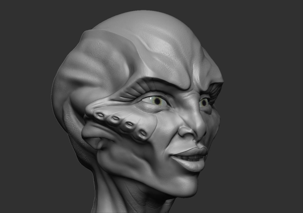 Tolu abisola alien head3 zbrush