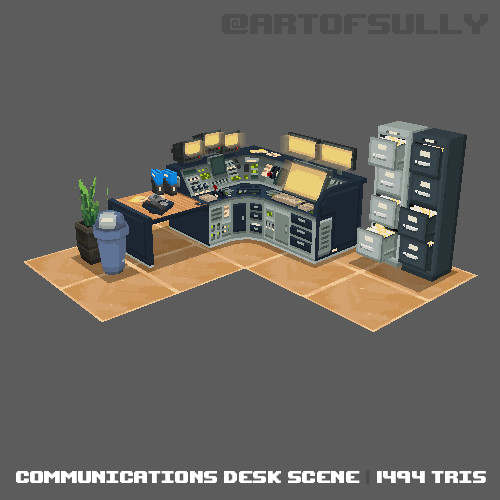 3D Pixel-Art Communications Desk Scene (Commission)