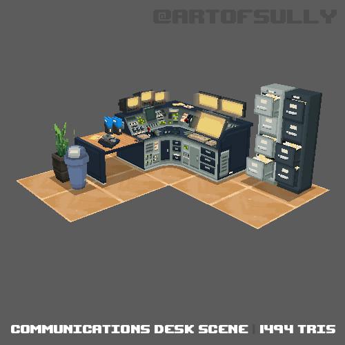 3D Pixel-Art Communications Desk Scene (Commission)