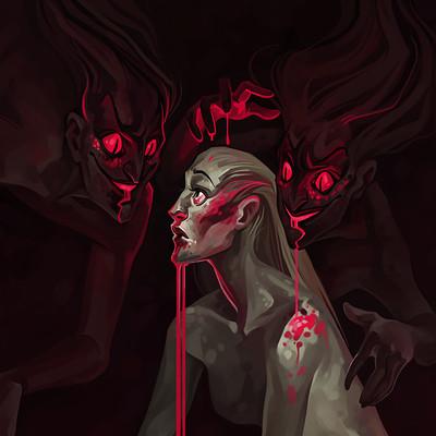 Natalya zakharova illustration for horror book