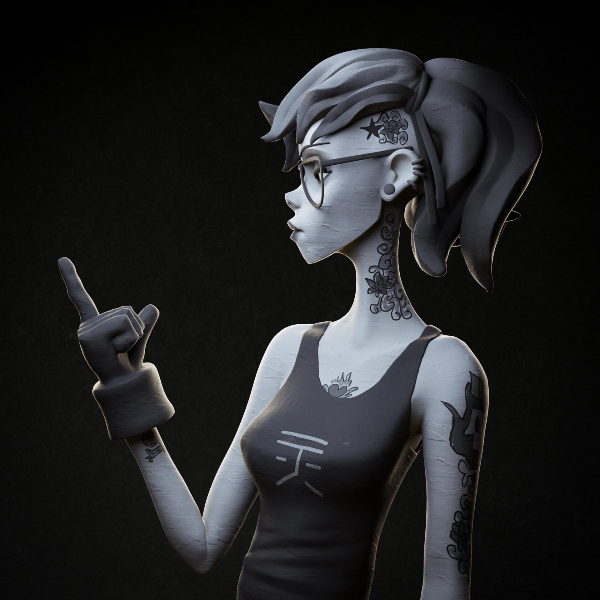 Day 13: Punk (based on an artwork by Serge Birault: https://www.artstation.com/artwork/oqJRO)